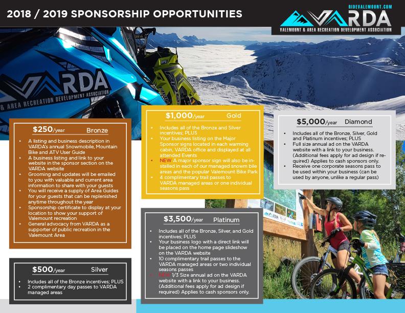 2018-19 VARDA sponsorship levels